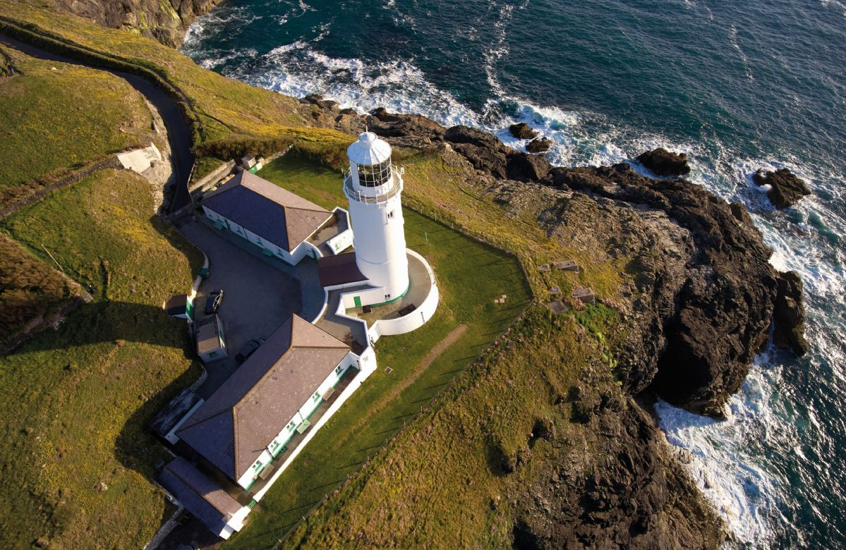 Aerial view of Trevose head lighthouse